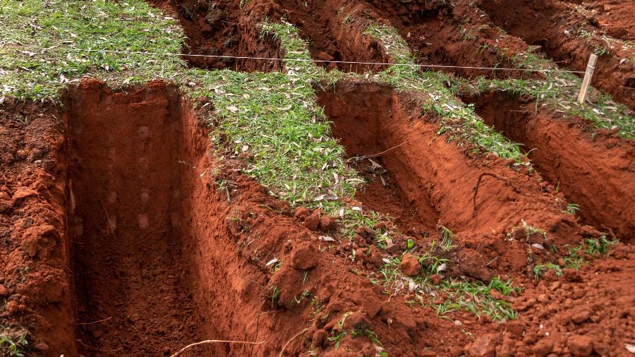 18.abr.2020 - Novas covas são abertas por máquinas no cemitério da Vila Formosa na Zona Leste de São Paulo, neste sábado (18), para receber os sepultamentos decorrentes à Pandemia Covid-19 no estado - Antonio Molina/Fotoarena/Estadão Conteúdo