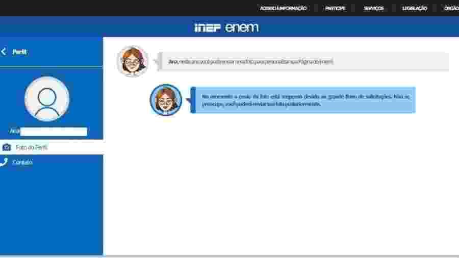Mensagem de erro no site de inscrição ao Enem - Reprodução