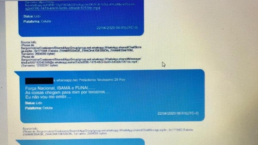 Mensagem enviada por Bolsonaro a Sérgio Moro em 22/04 reclama de ação do Ibama - Reprodução/Inquérito do STF