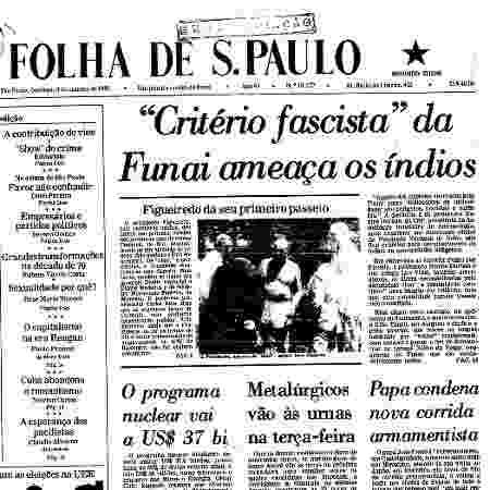 """Manchete da edição da """"Folha de S. Paulo"""" de 4 de outubro de 1981 - Reprodução/Acervo digital """"Folha de S. Paulo"""" - Reprodução/Acervo digital """"Folha de S. Paulo"""""""