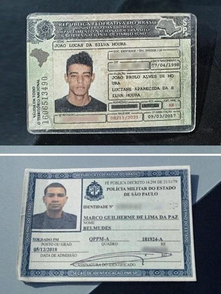 Acima, Marco Guilherme de Lima da Paz Belmudes e João Lucas da Silva Moura (no alto), acusados de cometer arrastão - Polícia Civil/Arte/UOL