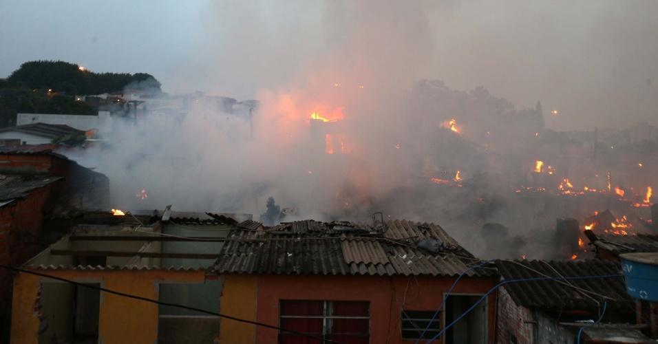 6.mai.2016 - Um incêndio atingiu a comunidade na rua Manuel Cherem, no Jabaquara, na zona sul de São Paulo. O local fica no final da avenida Roberto Marinho e faz parte do complexo de comunidades da favela Alba. O fogo começou por volta das 5h. Segundo o Corpo de Bombeiros, não há registro de vítimas até o momento