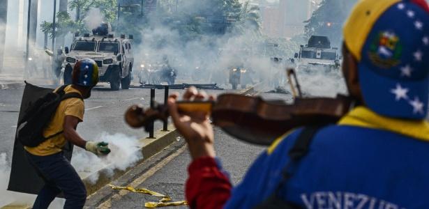 Protesto na Venezuela contra o presidente Maduro