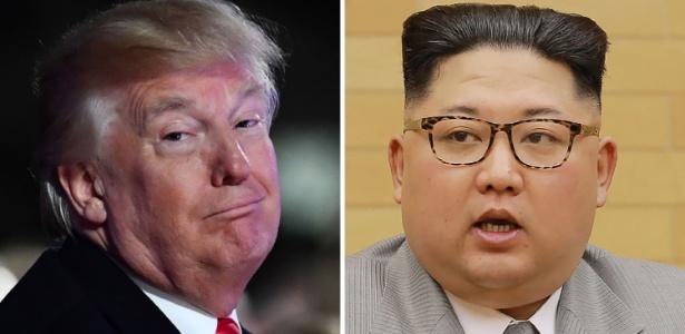 O presidente dos EUA, Donald Trump (à esq.), e do líder norte-coreano, Kim Jong-Un (à dir.)