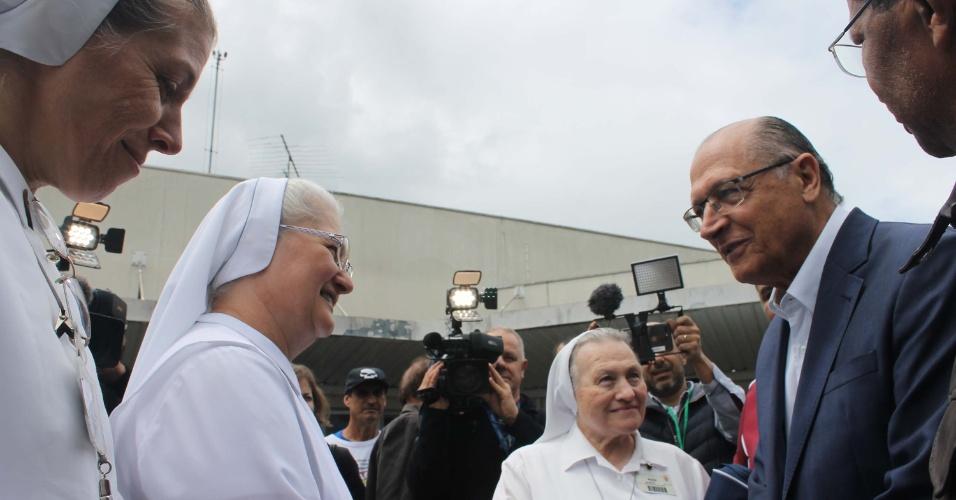 4.set.2018 - O candidato do PSDB à Presidência, Geraldo Alckmin visitou o Hospital Santa Marcelina, em São Paulo