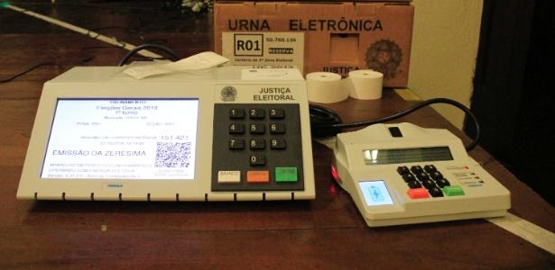 Urna eletrônica usada para treinamento de mesários
