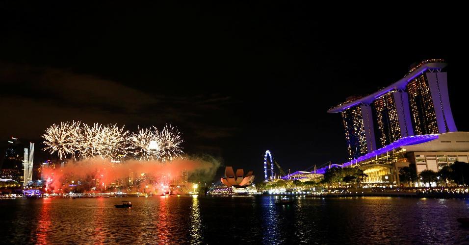 31.dez.2018 - Festa de Réveillon em Singapura