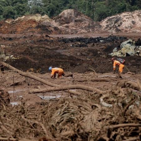 Bombeiros fazem buscas na região atingida pelos rejeitos da barragem que rompeu em Brumadinho - Pedro Ladeira/Folhapress