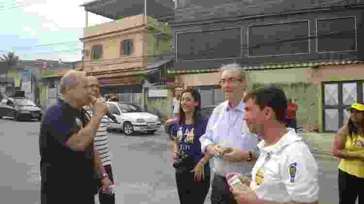 Domingos Brazão (ao microfone) e Eduardo Cunha fazem campanha juntos em 2014 - Divulgação