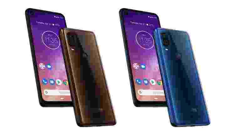 Motorola One Vision nas cores bronze e azul safira - Divulgação