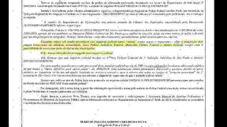 Documento enviado pela PF em que responde a parlamentares sobre inquérito de Alvaro Dias - Reprodução