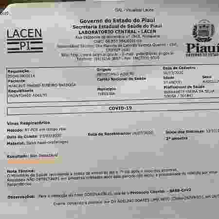 Exame de coronavírus do jornalista Marcelo Magno - Arquivo pessoal - Arquivo pessoal