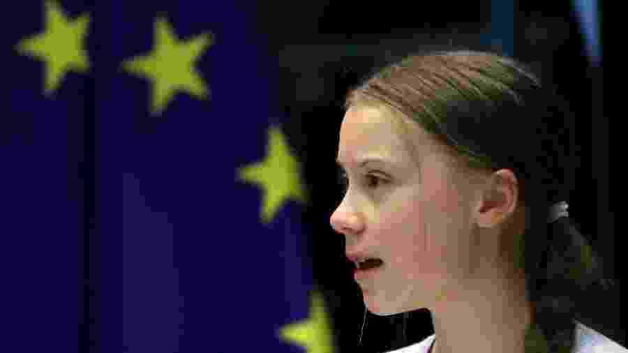 Ativista Greta Thunberg discursa diante de comitê do Parlamento Europeu em Bruxelas - Yves Herman