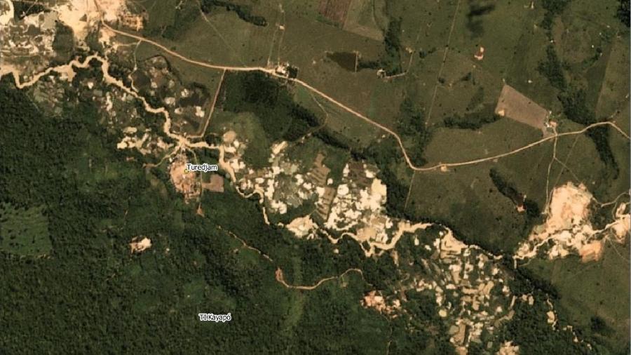 Imagem de satélite de 2020 mostra ação de garimpo na Terra Indígena Kayapó, no Pará - Rede Xingu+ / Divulgação