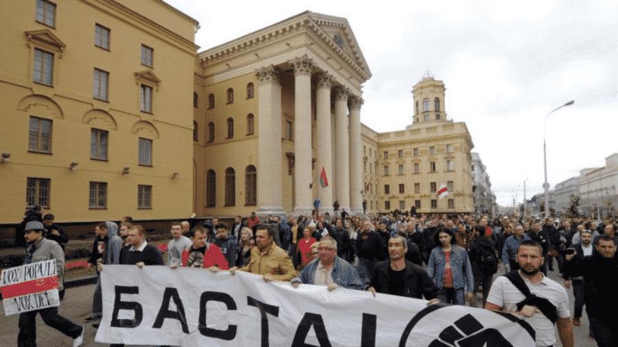 Muitos dos protestos contra o presidente Alexander Lukashenko passam em frente ao prédio da KGB - AFP
