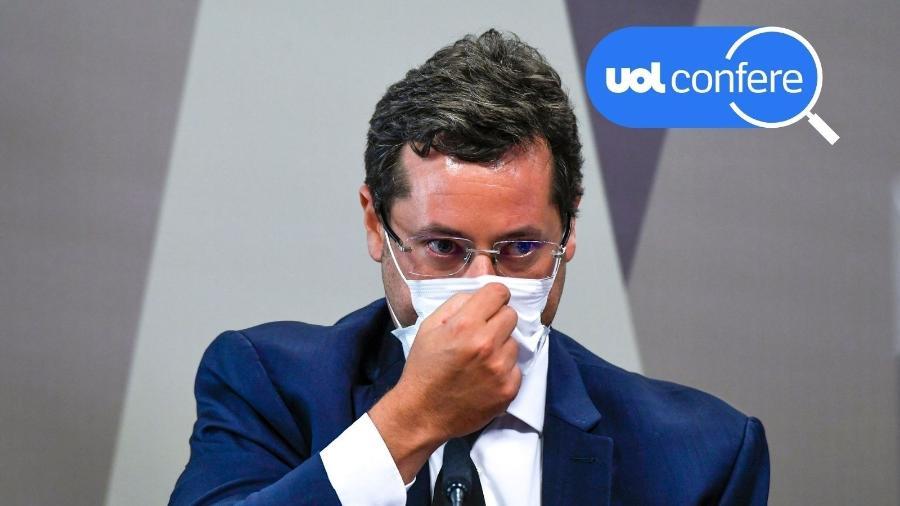 12.mai.2021 - UOL Confere: Fábio Wajngarten, ex-chefe da Secom, depõe na CPI da Covid no Senado - Edilson Rodrigues/Agência Senado