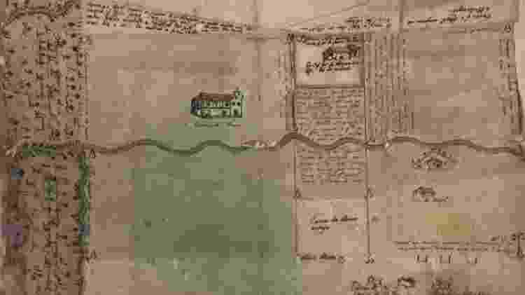 Mapa que situa a propriedade dos beneditinos na Baixada Fluminense - Reprodução/'Escravos da Religião' - Reprodução/'Escravos da Religião'