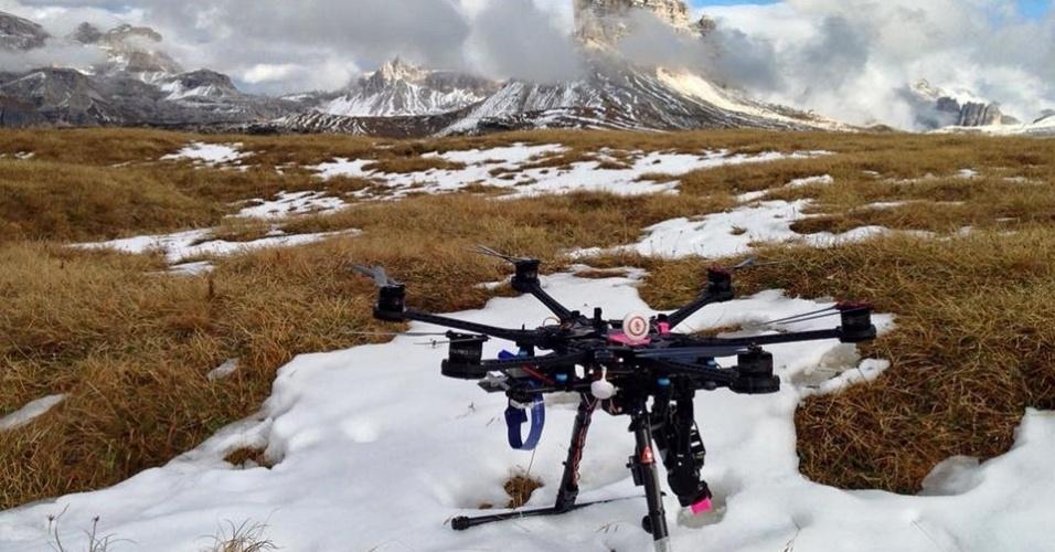 Drone da produtora Peixe Vivo, durante filmagem nos Alpes Italianos