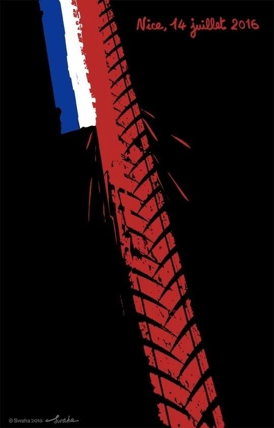 15.jul.2016 - Marca de pneu marca com vermelho-sangue a bandeira francesa. Nas redes sociais, artistas fizeram suas homenagens para o ataque terrorista em Nice no qual um caminhão atropelou dezenas de pessoas