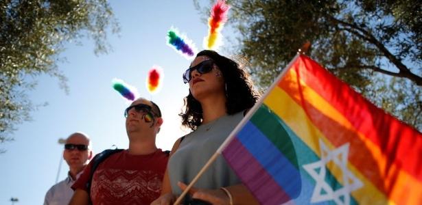 21.jul.2016 - Ativistas participam da Parada Anual do Orgulho Gay em Jerusalém