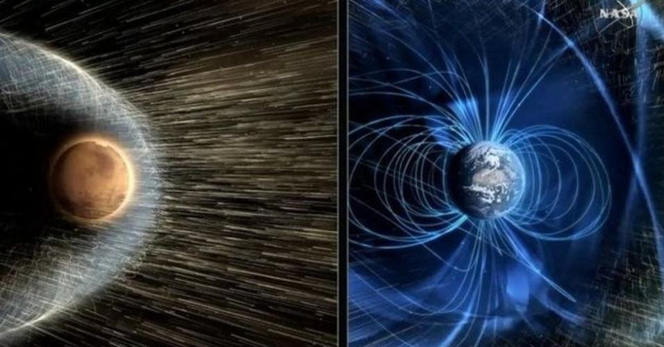 8.mar.2017 - Campo magnético artificial protegeria Marte da radiação e dos ventos solares