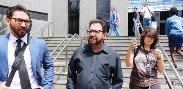 """O blogueiro Eduardo Guimarães, do """"Blog da Cidadania"""", no dia em que foi alvo de um mandado de condução coercitiva expedido pelo juiz Sergio Moro"""