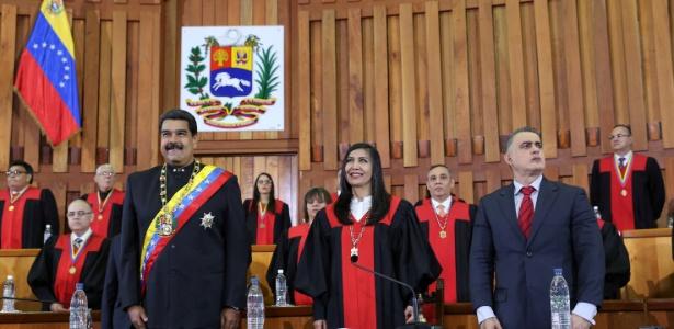 Presidente da Venezuela, Nicolás Maduro, durante cerimônia no Tribunal Superior da Justiça (TSJ) do país, em fevereiro