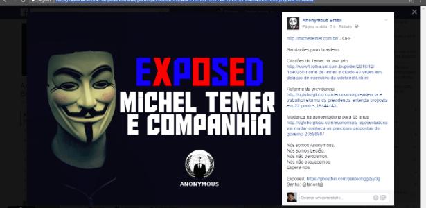 Mensagem deixada por hackers na página pessoal do presidente Michel Temer