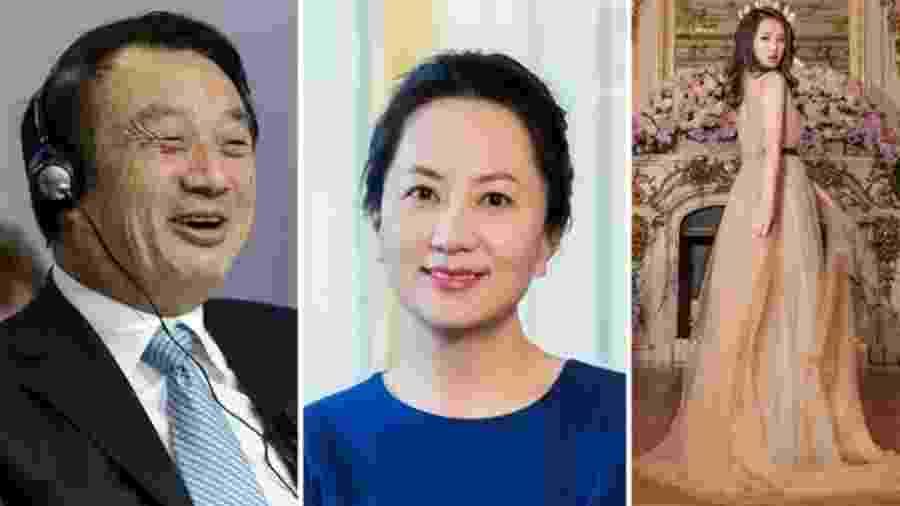 A maioria do clã da empresa Huawei tem se mantido às sombras, como o presidente da empresa Ren Zhengei e sua filha Meng Wanzhou (ao centro); já sua outra filha, Annabel Yao, à direita, publica muitas fotos nas redes sociais - Getty Images/Reprodução Instagram