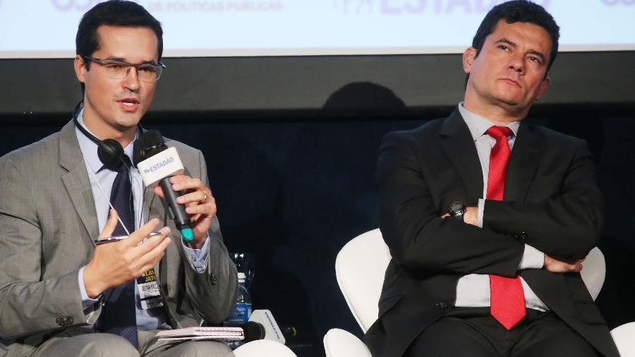 29.jun.2020 - Deltan Dallagnol e Sergio Moro lado a lado - Jorge Araújo/ Folhapress