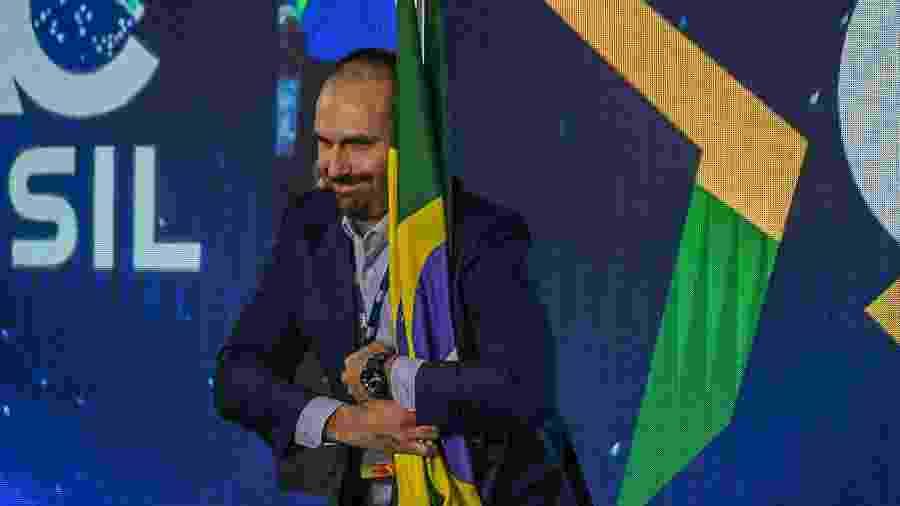 O deputado Eduardo Bolsonaro, na abertura da conferência CPAC Brasil - Bruno Santos/Folhapress