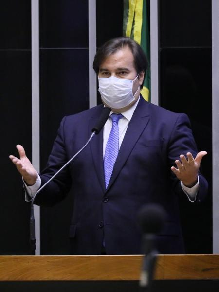 5.mai.2020 - O presidente da Câmara dos Deputados, Rodrigo Maia (DEM-RJ), durante sessão na Casa - Najara Araújo/Câmara dos Deputados