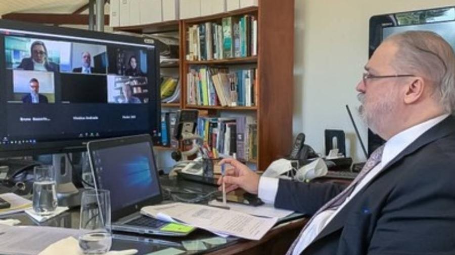 Procurador-geral da República Augusto Aras durante seminário sobre liberdade de imprensa promovido pela Abraji - Secom/PGR