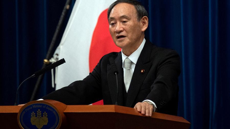 Primeiro-ministro do Japão, Yoshihide Suga, durante entrevista coletiva em Tóquio -