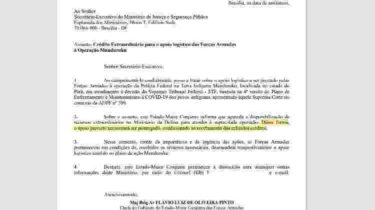 Ofício enviado pelo Ministério da Defesa ao Ministério da Justiça em 21 de maio de 2021 - Divulgação - Divulgação
