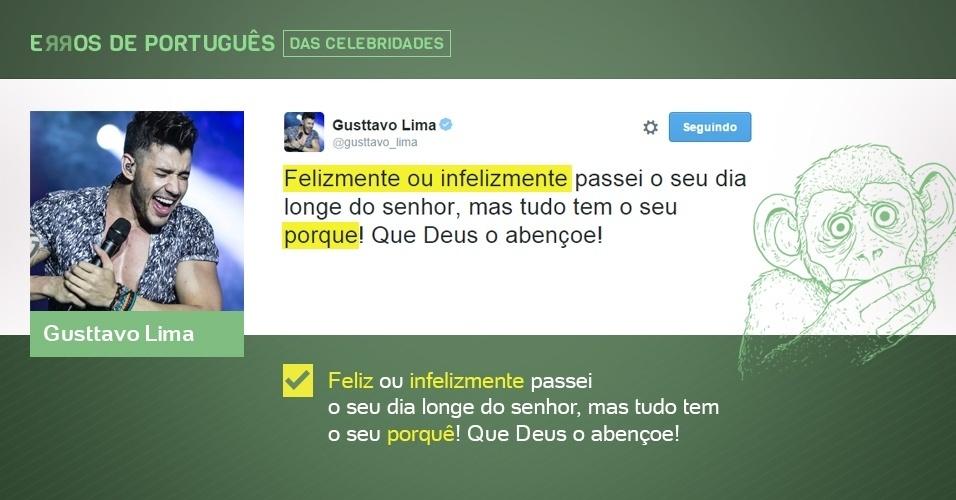 erros de português de celebridades - Gusttavo Lima - corrigido