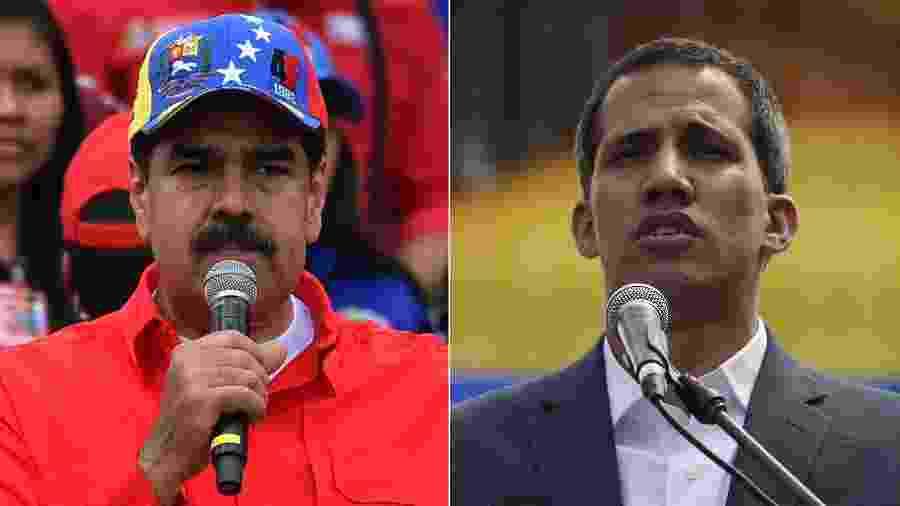 Nicolás Maduro (à esquerda) e Juan Guaidó, líder da oposição - YURI CORTEZ/FP