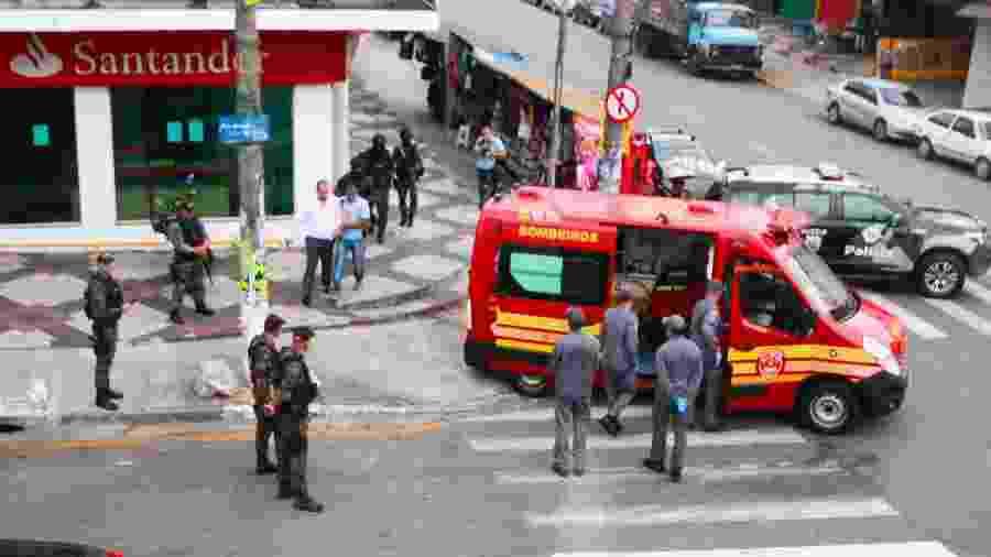 Tentativa de roubo foi registrada em agência do Santander em Diadema nesta sexta - Marcelo Gonçalves/Sigmapress/Estadão Conteúdo