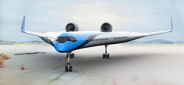 Perspectiva do Flying-V, conceito de avião que está sendo elaborado pela KLM - Divulgação