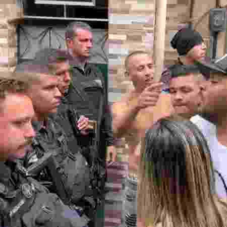 Moradores da Barreira do Vasco discutem com PMs em protesto por morte de garçom - Reprodução