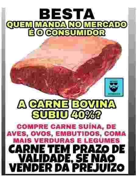 Internautas defendem boicote à carne nas redes sociais - Reprodução/Facebook