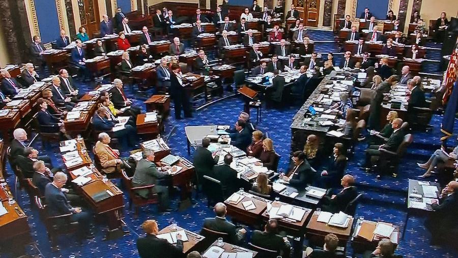 Plenário do Senado dos EUA onde o segundo pedido de impeachment contra o ex-presidente Trump será julgado - Handout .