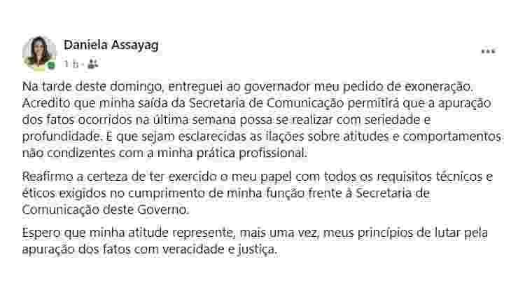 Post em rede social no qual a secretária de Comunicação do Amazonas, Daniela Assayag, afirma ter pedido demissão do cargo - Reprodução - Reprodução