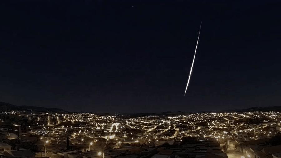 Registro de meteoro na região Sudeste do país em fevereiro deste ano - Reprodução/Clima Tempo