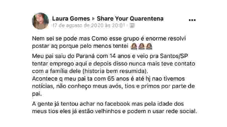 Postagem de Laura Gomes no grupo no Facebook - Reprodução - Reprodução