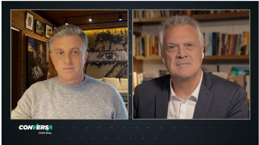 Luciano Huck durante entrevista a Pedro Bial, Ele confirmou que não tentará disputar a Presidência. Vai ocupar as tardes de domingo na Globo - Reprodução/TV Globo