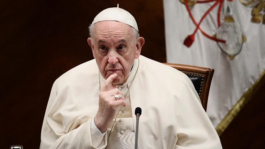 O Papa Francisco durante inauguração ciclo de estudos em ecologia e uma cátedra em parceria com a Unesco na Universidade Lateranense  - Filippo Monteforte/AFP