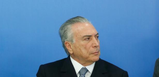 O presidente interino, Michel Temer, durante evento com empresários no Planalto