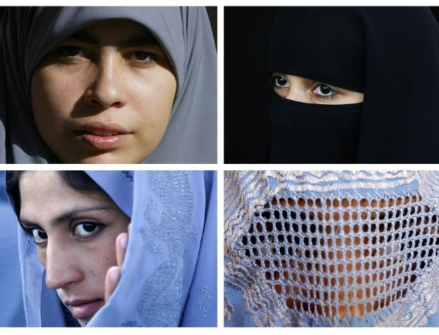 Montagem mostram mulheres usando diferentes véus islâmicos: no sentido horário, o hijab, o niqab, o chador e a burca