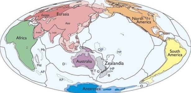 No mapa acima, publicado no 'Geological Society of America's Journal', os sete continentes conhecidos dos geólogos mais a Zelândia
